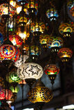 Colored lanterns hanging at the Grand Bazaar in Stock Photo