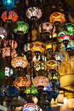 Colored lanterns hanging at the Grand Bazaar in Stock Photos