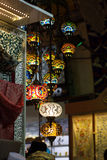 Colored lanterns hanging at the Grand Bazaar in Stock Image