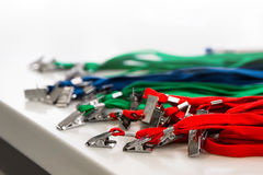 Colored lanyard for id cards and badges. On white background Stock Photography
