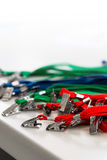 Colored lanyard for id cards and badges. On white background Stock Image