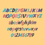 Colored Latin alphabet. Children`s font in cute cartoon style. Uppercase and uppercase letters and numbers. Can be used for your design Royalty Free Stock Photos