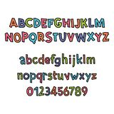 Colored Latin alphabet. Children`s font in cute cartoon style. Uppercase and uppercase letters and numbers. Can be used for your design Stock Images