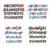 Colored Latin alphabet. Children`s font in cute cartoon style. Uppercase and uppercase letters and numbers. Can be used for your design Stock Photos
