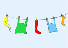 Colored laundry. Stock Photo