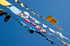 Free Colored Laundry And Clothes Drying On A Rope - On A Background O Stock Image - 28591521