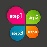 Colored leaf clover with four steps, vector symbol for your info. Graphic and documents Stock Photo