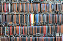 Colored leather trouser belts Stock Images