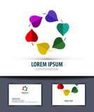 Colored leaves in a circle. Logo, icon, emblem, Stock Photo