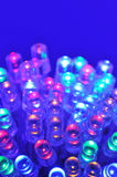 Colored LEDs. Macro detail of some colored LEDs in blue spotlight stock image