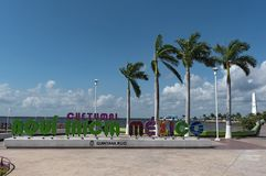 Colored lettering of the Mexican city of Chetumal, Quintana Roo, Mexico.  Royalty Free Stock Images