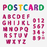 Colored letters of the alphabet and Numbers  look like postcards. Editable eps10 Vector Royalty Free Stock Photo