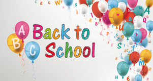 Colored Letters Balloons Header ABC Back To School vector illustration