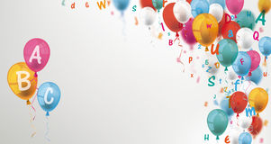 Colored Letters Balloons Header ABC stock illustration