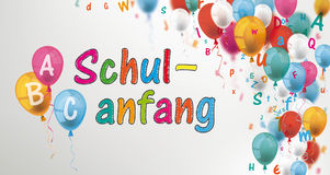 Colored Letters Balloons Header ABC Schulanfang. German text Schulanfang, translate Back to School stock illustration