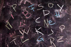 Colored letters. The colors of the letters, written with chalk on blackboard Stock Image