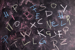 Colored letters. The colors of the letters, written with chalk on blackboard Royalty Free Stock Photography