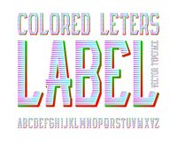 Colored Letters Label typeface. Colorful ribbed font. Isolated english alphabet.  royalty free illustration