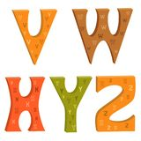 Colored letters of the Latin alphabet V, W, X, Y, Z. Colored letters of the Latin alphabet with a graphic pattern stock illustration