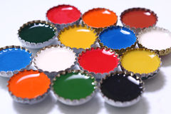 Colored lids Royalty Free Stock Images