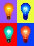 Colored Light Bulbs. Different colored light bulbs on different colored backgrounds Stock Photo