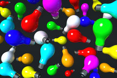 Colored light bulbs in air Royalty Free Stock Photography