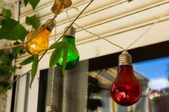 Colored light bulbs. Some colored light bulbs in a terrace Stock Photography
