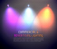 Colored Light Effects Poster. Colored light effects for commercial using and advertising illumination poster on brick wall background vector illustration Stock Illustration