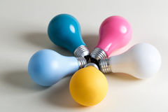 Colored lightbulbs in a collection Stock Photos