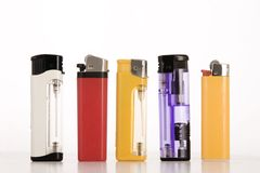 Colored lighters Stock Images