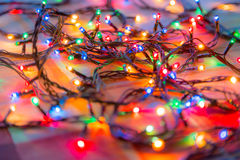Colored lights Christmas garlands. Colorful abstract background.  Royalty Free Stock Photography