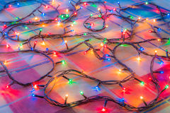 Colored lights Christmas garlands. Colorful abstract background.  Stock Photo