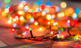 Colored lights Christmas garlands. Colorful abstract background.  Royalty Free Stock Photos