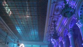 Disco lights. Grand salon decorated with colored lights and spotlights stock footage