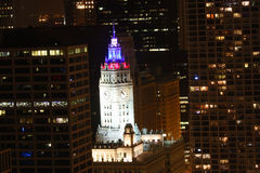 Colored lights on the Wrigley Building in Chicago Royalty Free Stock Image