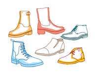 Colored line art boots with shading Stock Image