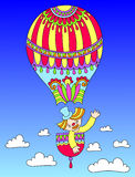 Colored line art drawing of circus theme - clown. In a balloon, vector illustration Royalty Free Stock Images