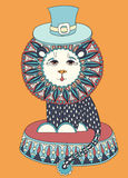 Colored line art drawing of circus theme - lion in Stock Photo