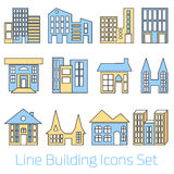 Colored line Building Icons Set Royalty Free Stock Image