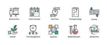 Colored line Icon of Business and Finance. This Colored line icon set consists of simply designed business and finance related icons that are best suited for Royalty Free Stock Photos