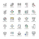 Colored line Icons of Business and Finance. This Colored line icon set consists of simply designed business and finance related icons that are best suited for Stock Photography