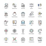 Colored line Icons of Business and Finance. This Colored line icon set consists of simply designed business and finance related icons that are best suited for Royalty Free Stock Photo