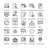 Colored Icons Set of Internet and Digital Marketing. These colored line icons set of internet and digital marketing are perfect to be used in digital marketing Stock Photo