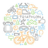 Colored linear triathlon concept. Line triathlete and other elem Royalty Free Stock Images