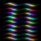 Colored lines on a black background Stock Images