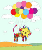 Colored lion flying on balloons. Illustration of little colored lion flying on balloons Royalty Free Stock Photos