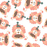 Colored lions in retro style, seamless pattern,  Stock Photo