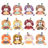 Colored lions in retro style, set,  Stock Image