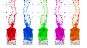 Colored liquid splashes Stock Image