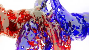 Colored liquid splashes in slow motion stock video footage